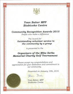 MikeSerbaGolf TournamentCommunityServiceAward2015